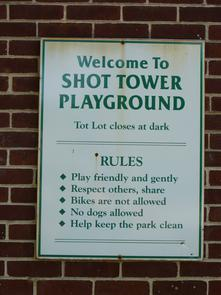 Sparks Shot Tower Playground sign. Image provided by Historical Society of Pennsylvania