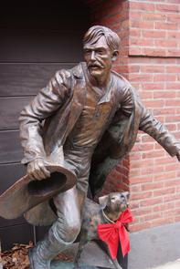 Firefighter statue outside Weccacoe Firehouse. Image provided by Historical Society of Pennsylvania