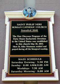 Detail of the sign posted outside the Church of St. Philip Neri. Image provided by City of Philadelphia Department of Records