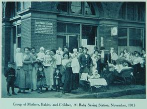 Group of mothers, babies, and children, at Baby Saving Station, November 1913. Image provided by Historical Society of Pennsylvania