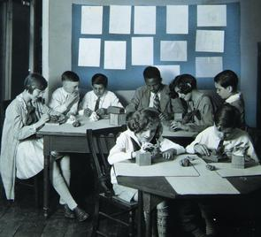 Children making clay figures at the Settlement Music School. Image provided by Historical Society of Pennsylvania