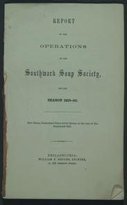 Title page of Southwark Soup Society report. Image provided by Historical Society of Pennsylvania