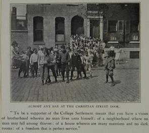 Almost any day at the Christian Street door. Image provided by Historical Society of Pennsylvania