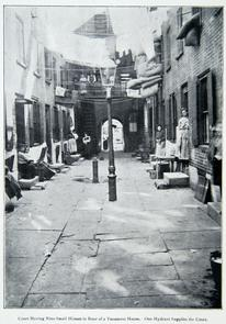 Court having nine small houses in rear of a tenement house. Image provided by Historical Society of Pennsylvania