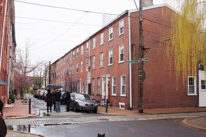 Row houses at intersection of Hancock and Beck Streets. Image provided by Historical Society of Pennsylvania