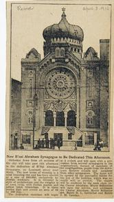 New B'Nai Abraham Synagogue to Be Dedicated This Afternoon. Image provided by Historical Society of Pennsylvania