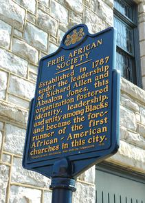 Free African Society Historical marker at Mother Bethel A.M.E. Church. Image provided by City of Philadelphia Department of Records