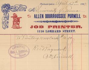 W.E.B. Du Bois' receipt for printing. Image provided by Univ. of Pennsylvania Archives