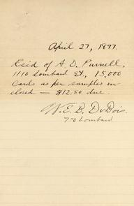 W.E.B. Du Bois' receipt for printing. Image provided by Univ. of Pennsylvania Archives