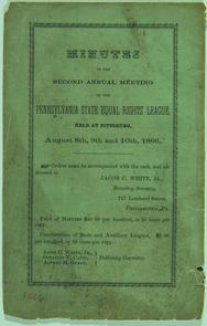 Cover page of the Minutes of the Second Annual Meeting of the Pennsylvania State Equal Rights League. Image provided by Historical Society of Pennsylvania