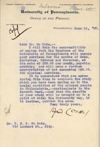 Letter from Penn Provost Charles C. Harrison to W.E.B. Du Bois. Image provided by Univ. of Pennsylvania Archives