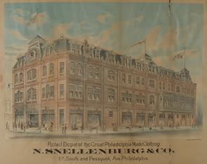Retail Depot of the Great Philadelphia Made Clothing N. Snellenburg & Co.. Image provided by Historical Society of Pennsylvania