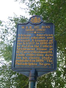 W.E.B. Du Bois historical marker. Image provided by Historical Society of Pennsylvania
