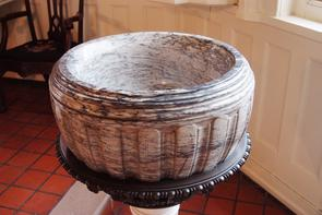 Gloria Dei (Old Swedes') Church baptismal font. Image provided by Historical Society of Pennsylvania