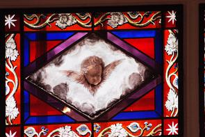 Stained glass window Gloria Dei (Old Swedes') Church. Image provided by Historical Society of Pennsylvania