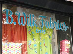 B. Wilk Fabrics front window. Image provided by Historical Society of Pennsylvania