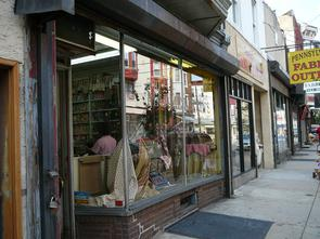 Marmelstein's front window on Fabric Row. Image provided by Historical Society of Pennsylvania
