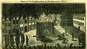 """A Full and Complete Account of the Late Awful Riots in Philadelphia"": Scene of the Conflagration on Tuesday night, May 7. Image provided by Historical Society of Pennsylvania"