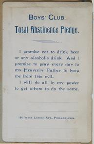 Boys' Club Abstinence Pledge. Image provided by Historical Society of Pennsylvania