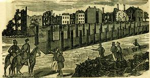 """A Full and Complete Account of the Late Awful Riots in Philadelphia"": ruins of buildings. Image provided by Historical Society of Pennsylvania"