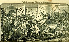 """A Full and Complete Account of the Late Awful Riots in Philadelphia"": Fight between the Rioters in Kensington. Image provided by Historical Society of Pennsylvania"