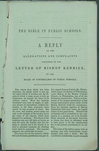 "First page of ""The Bible in Public Schools"". Image provided by Historical Society of Pennsylvania"