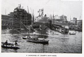 A Launching at Cramp's Ship-Yards. Image provided by Historical Society of Pennsylvania