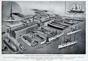 Bird's-Eye View of Cramp's Ship-Yards, Delaware River. Image provided by Historical Society of Pennsylvania