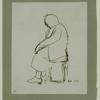 Sketch of seated woman on North Marshall Street. Image provided by National Museum of Jewish History