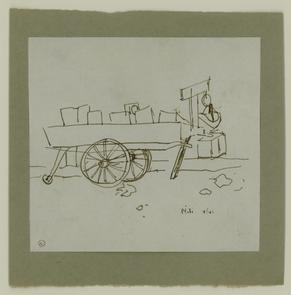 Sketch of pushcart on North Marshall Street. Image provided by National Museum of Jewish History