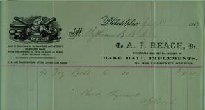 Receipt from the A. J. Reach company for purchase of 6 belts by the Pythian Baseball club. Image provided by Historical Society of Pennsylvania