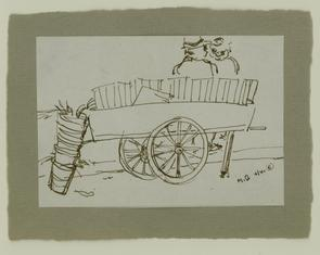 Sketch of pushcart on North Marshall Street.. Image provided by National Museum of Jewish History
