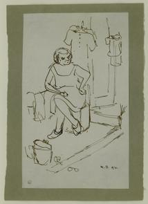 Sketch of seated woman with hanging clothes, North Marshall Street. Image provided by National Museum of Jewish History