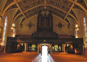 St. Paul's Church, interior looking toward back of church. Image provided by City of Philadelphia Department of Records