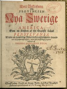 Kort beskrifning om provincien Nya Swerige uit America. Image provided by Library Company of Philadelphia