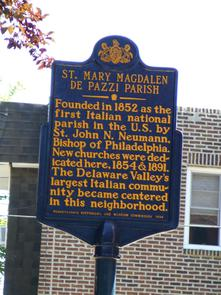 St. Mary Magdalen de Pazzi Roman Catholic Church historical marker. Image provided by Historical Society of Pennsylvania