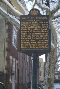 House of Industry historical marker. Image provided by Historical Society of Pennsylvania