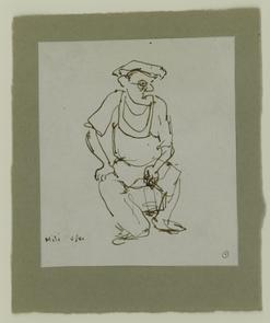 Sketch of seated man on North Marshall Street. Image provided by National Museum of Jewish History