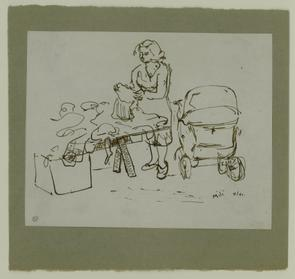 Sketch of shopper with a baby carriage on North Marshall Street. Image provided by National Museum of Jewish History
