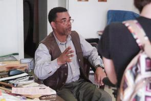 Robert Smith-Shabazz in his studio. Image provided by Historical Society of Pennsylvania