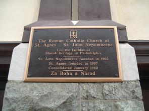 St. Agnes-St. John's Neopmucene Roman Catholic Church plaque. Image provided by Historical Society of Pennsylvania