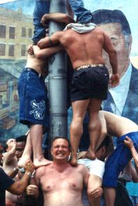 Greased pole competition. Image provided by Maria Petrone