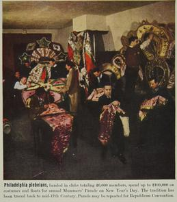 Mummers sewing their costumes. Image provided by Historical Society of Pennsylvania