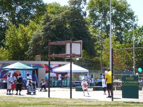Basketball court at Sacks Playground. Image provided by Historical Society of Pennsylvania