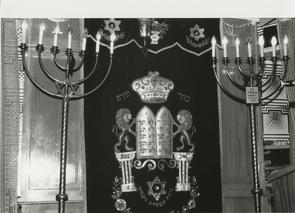 The Ark for the Torahs and candelabras in the Boslover Hall. Image provided by Elaine Ellison