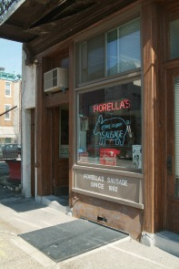 Fiorella Brothers Sausage storefront window. Image provided by Historical Society of Pennsylvania