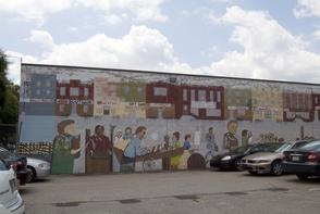 Marshall Street pushcarts mural. Image provided by Historical Society of Pennsylvania
