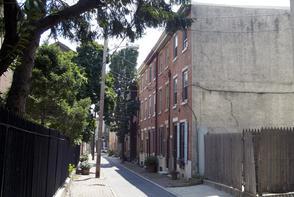 Bodine Street row houses. Image provided by Historical Society of Pennsylvania