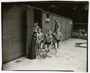 Boys in swim trunks at Soupy Island Sanitarium. Image provided by Historical Society of Pennsylvania