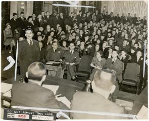 Nearly 600 opponents and champions gather to debate the continuation of the Old Swedes Housing Project . Image provided by Historical Society of Pennsylvania